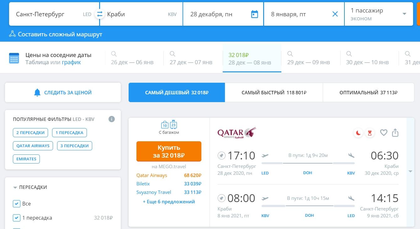 Очень дешевые билеты из Петербурга в Краби на Новый Год за 32000 рублей